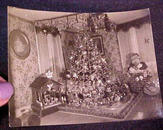 1930 Christmas tree and putz - Vintage Christmas Photographs From The 1930s.