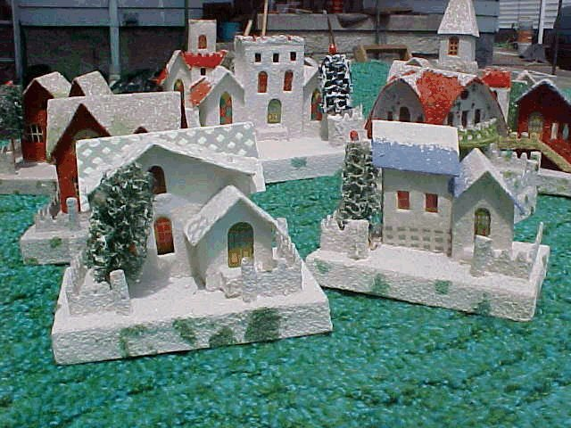 Cardboard Christmas Houses.History Of Christmas Village Putzes And Train Layouts During
