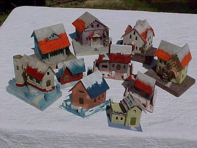 early 1930 cardboard christmas village house - Mini Christmas Village Houses