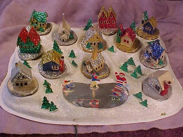 Christmas Village Putzes and train layouts after World War II.